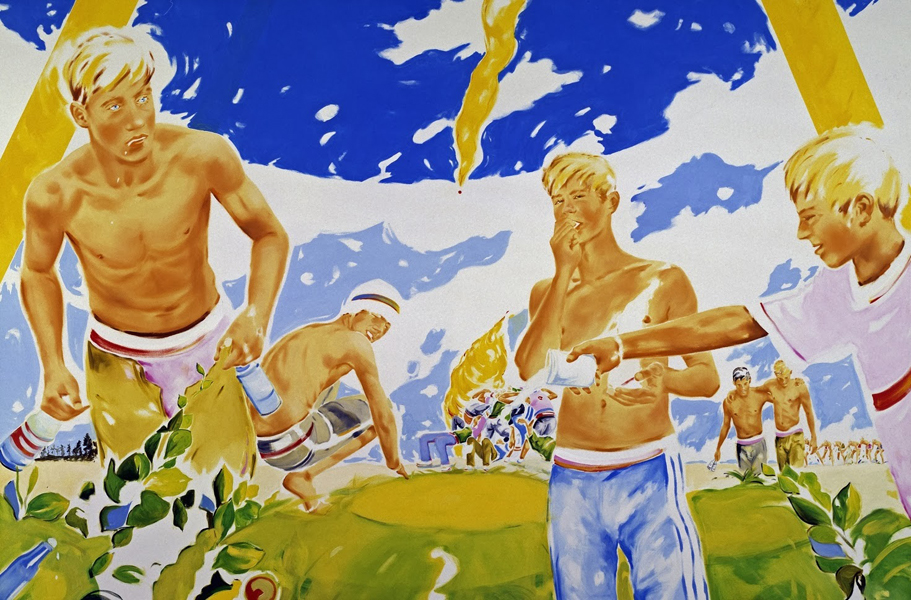 Norbert Bisky - Ascension in Friedrichshain. 2005. 200 x 300 cm.