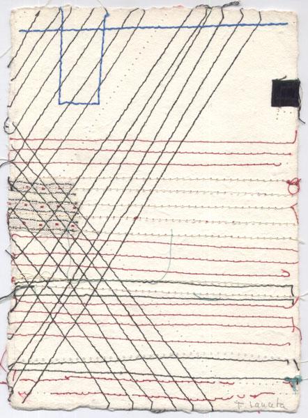 S/T. 1995-1996. Técnica mixta / Acuarela e hilos cosidos sobre papel hecho a mano. 20 x 15 cm.