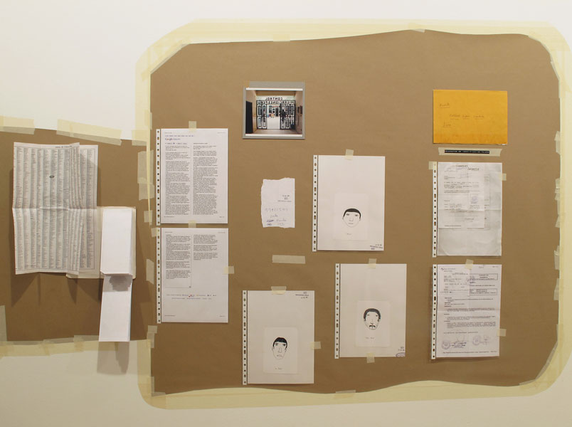 Felipe Cortés .- Tablón de anuncios: Bala (Lima, Perú). Kraft paper, tape, documentation and handmade drawings. 122 x 216 cms, 2010