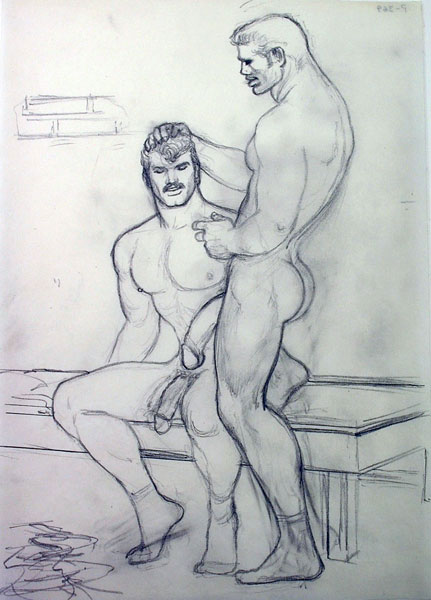 Tom of Finland .- s/t. Grafito sobre papel. 29,2 x 20,3 cms. 1976