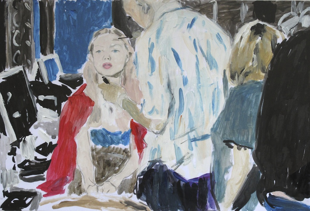 Philip Jones .- Stella McCartney Paris Show, October 2010, No 3. Pencil, ink & acrylic on paper  25,6 x 38 cms, 2010