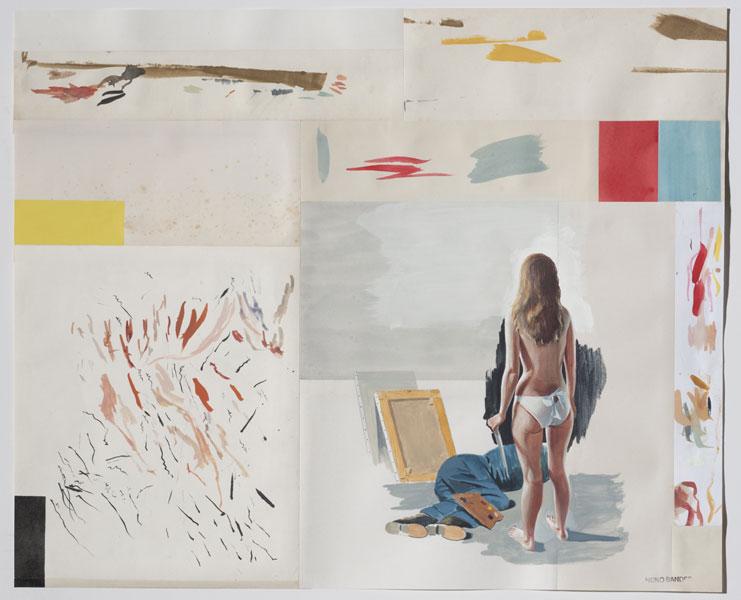 Licencia para matar a Mondrian. 2015. Témpera sobre ensamblaje de papel. 42 x 52 cm.