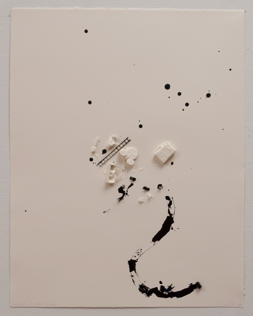 Liliana Porter .- Untitled with fallen things. Work on paper. 2014. 48 x 38 cm.