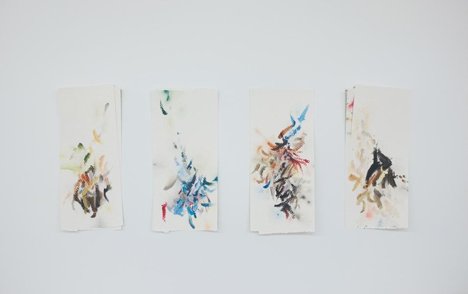 Mauro Piva  - Autorretrato como papéis toalha sujos de tinta II. 2017.Acuarela, acrílico y gouache sobre papel. 47 x 74,8 cm. Único