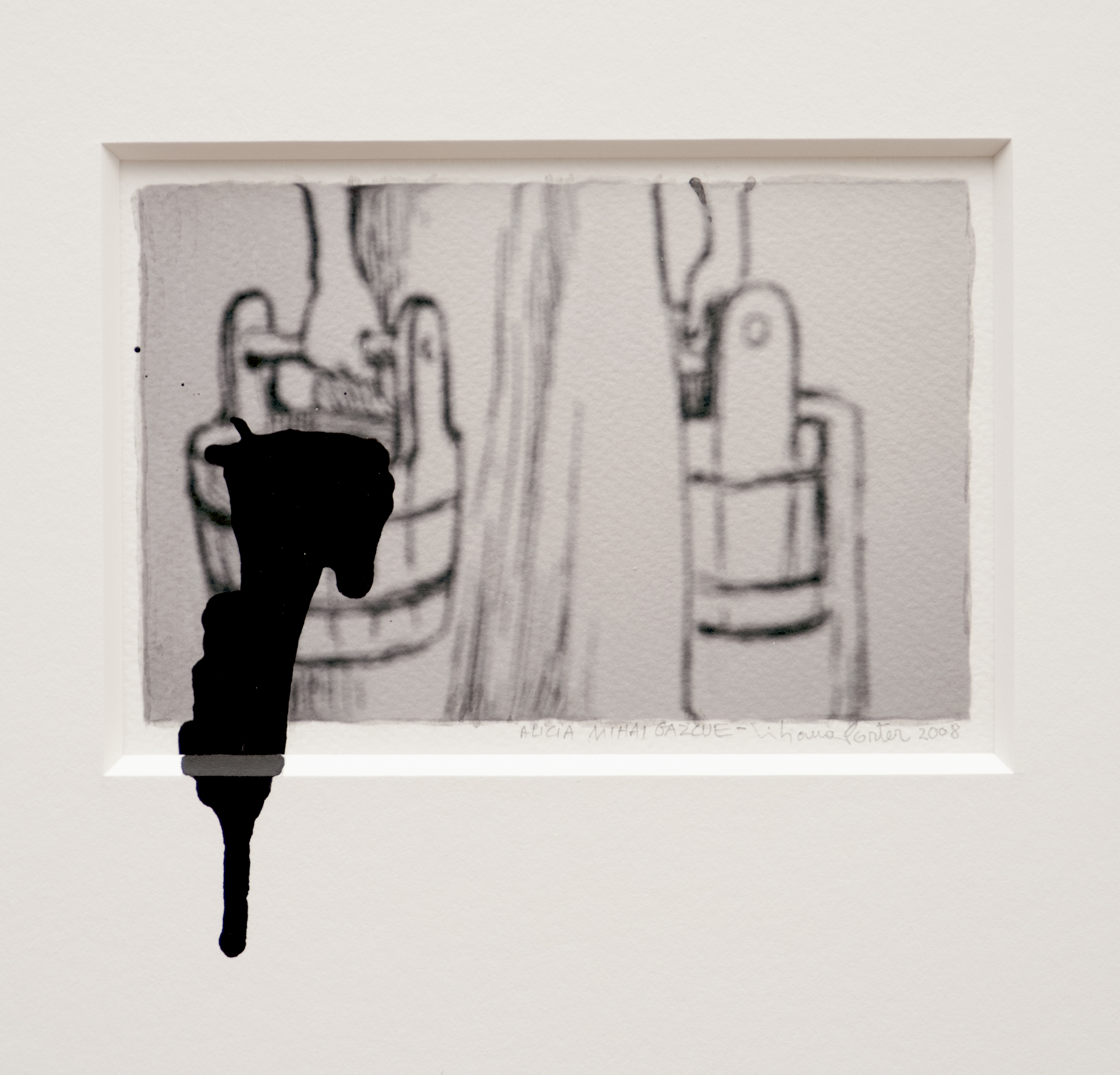 Alicia Mihai Gazcue & Liliana Porter - Untitled. 2007. Acuarela, carboncillo y acrílico sobre papel. 12,7 x 12,7 cm.