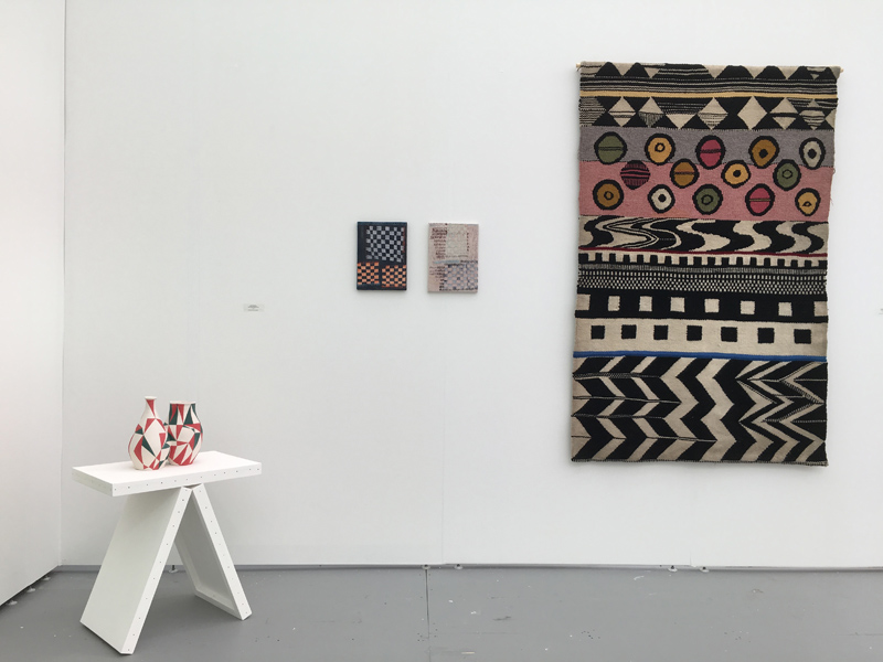 Stand D6. UNTITLED Art Miami 2018. Espacio Minimo. Nono Bandera, and Teresa Lanceta view.