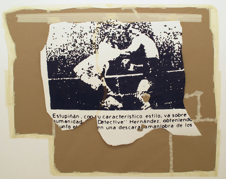 Felipe Cortés .- Documento: Descarada maniobra. Ink on paper, Kraft paper and tape, 2010