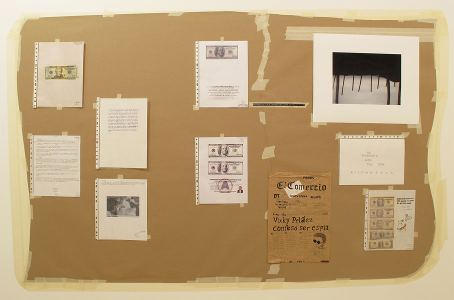 Felipe Cortés .- Tablón de anuncios: número 2. Kraft paper, tape gliceé print, ink drawing on paper and typographed text and collage, 2011