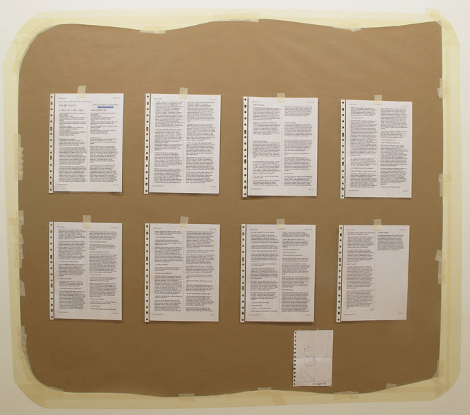 Felipe Cortés .- Tablón de anuncios: el mejor de la Argentina.(Buenos Aires, Argentina). Kraft paper, tape, documents of investigation and map, 2011