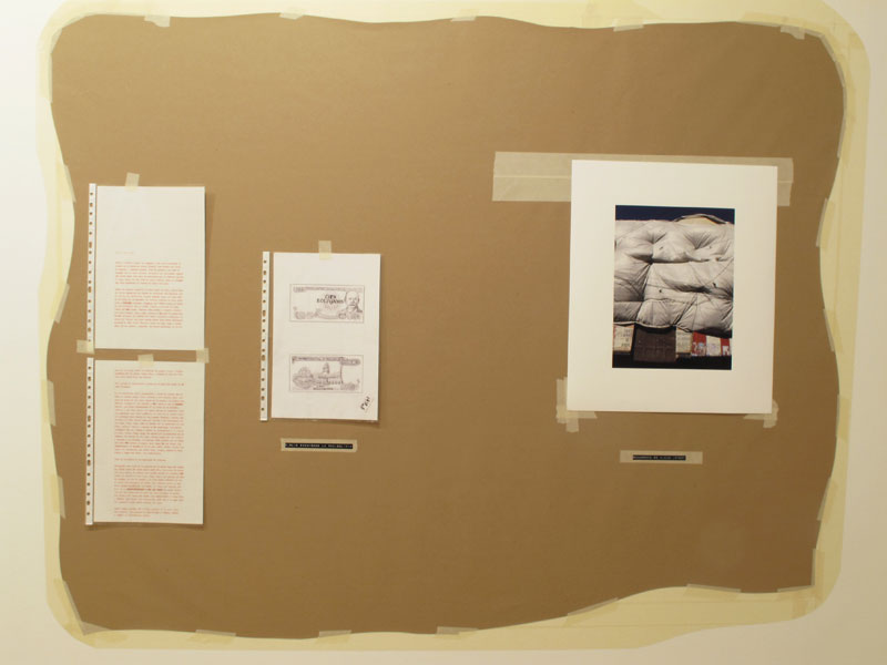 Felipe Cortés .- Tablón de anuncios: Bovinacea. (La Paz, Bolivia). Kraft paper, tape gliceé print, ink drawing on paper and typographed text, 2011