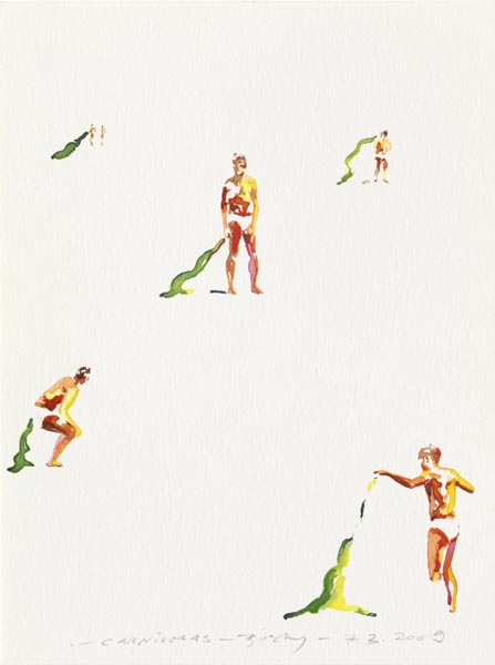 Norbert Bisky .- Carnívoras.  Watercolour on paper, 34 x 24 cms, 2009