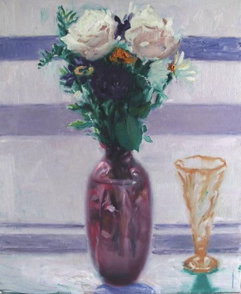 Phiip Jones .- Morning flowers. Oil on canvas, 63 x 54 cms, 2009
