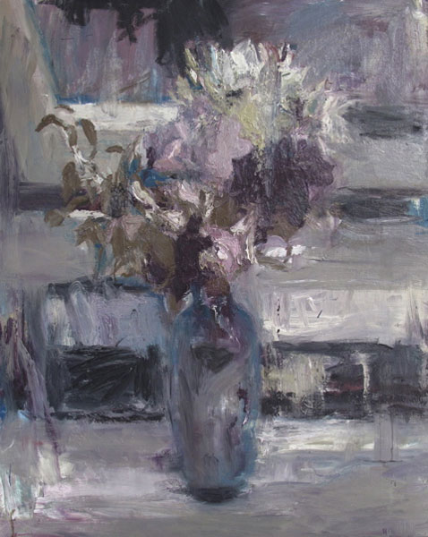 Philip Jones .- Evening flowers. Óleo sobre lienzo, 100 x 78 cms, 2009
