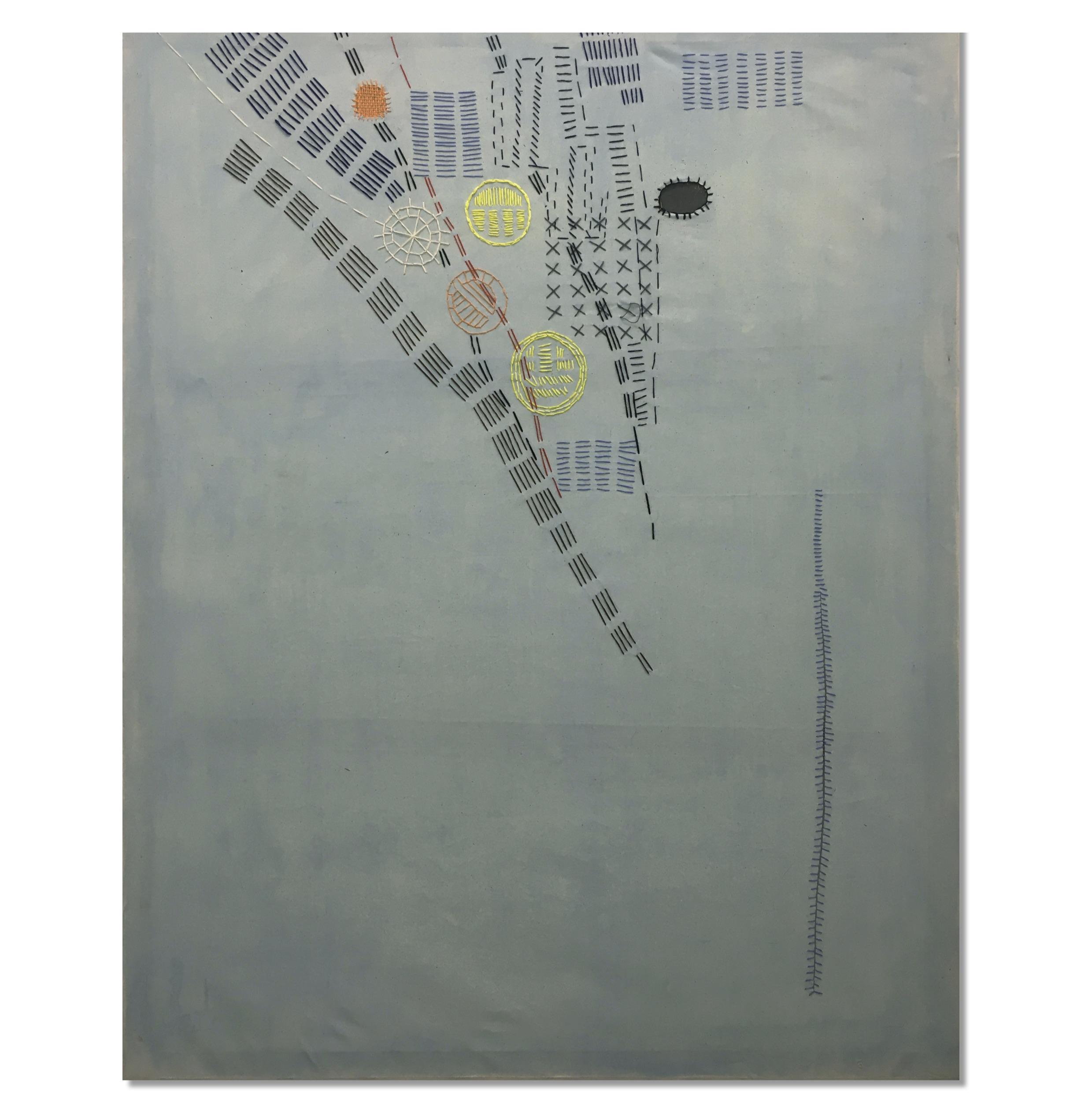 Teresa Lanceta - Con idolatrable apego. 1996. Tejido cosido y pintado. 146 x 114 cm.