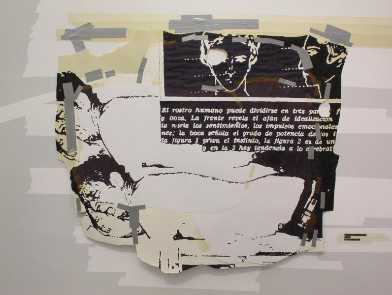 Felipe Cortés .- Documento de latencia C S 4168, Homeópata suicida. Dibujo en tinta para sello sobre papel y cinta de enmascarar, 125 x 146 cms, 2011