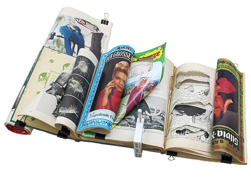 Felipe Cortés .- Compound Work. Aivlis. Libros, revistas y novelas semanales usados, imanes, ganchos plegables reversibles y prensa en C. 8 x 47,5 x 36 cms aprox. 2012