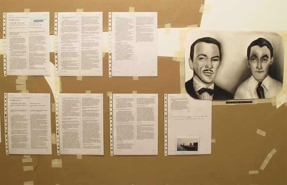 Felipe Cortés .- Witscher-Laverde. Papel kraft, cinta, documentos de investigación y dibujo manual. Variables, 2010