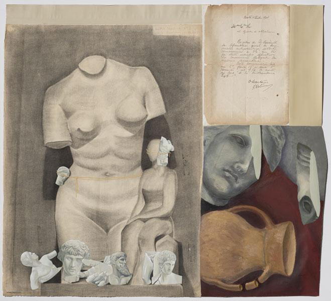 Still Sculpture. 2015. Témpera y óleo sobre ensamblaje de papel y lienzo. 76 x 83 cm.