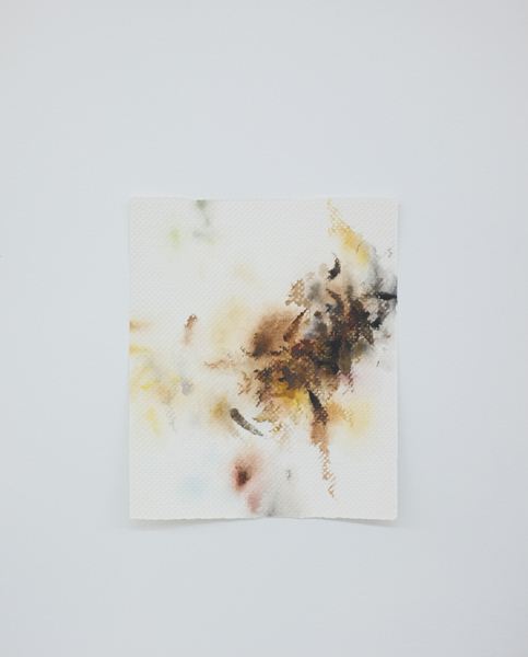 Mauro Piva - Autorretrato como papel toalha sujo de tinta I. 2017. Acuarela, acrílica y gouache sobre papel. 46,7 x 37,6 cm. Único