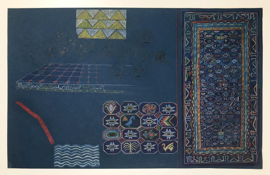 Teresa Lanceta - La Santa Cena, Albacete s. XV. 2004. Dibujo. 70 x 110 cm.