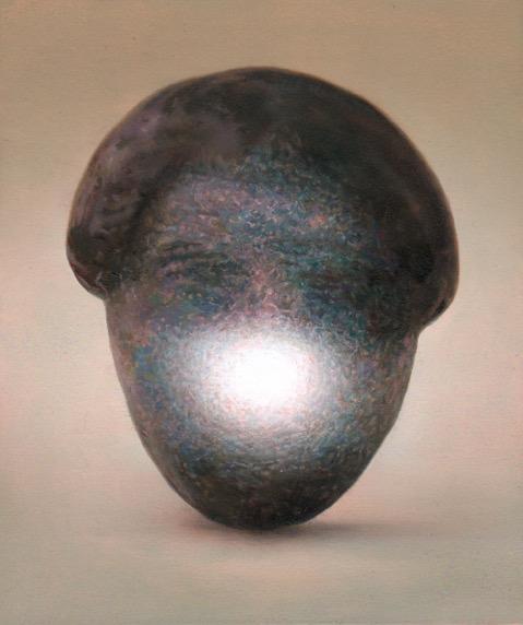 Martí Cormand - Leaning head, JG, num 2. 2019. Óleo sobre cartón, montado sobre madera. 20,5 x 17,5 cm. Único