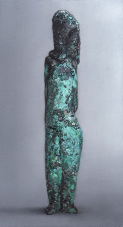 "Martí Cormand - Otto Baum's ""Stehendes Maedchen, 1930. 2019. Óleo sobre cartón,montado sobre madera. 26,5 x 14,5 cm. Único"