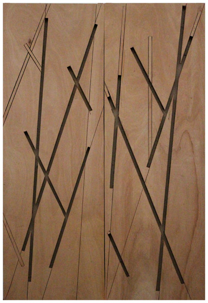 Manu Muniategiandikoetxea -ST. Diptico, Barco, madera. 2019. Madera puertas fibra. 273 x 182 cm.