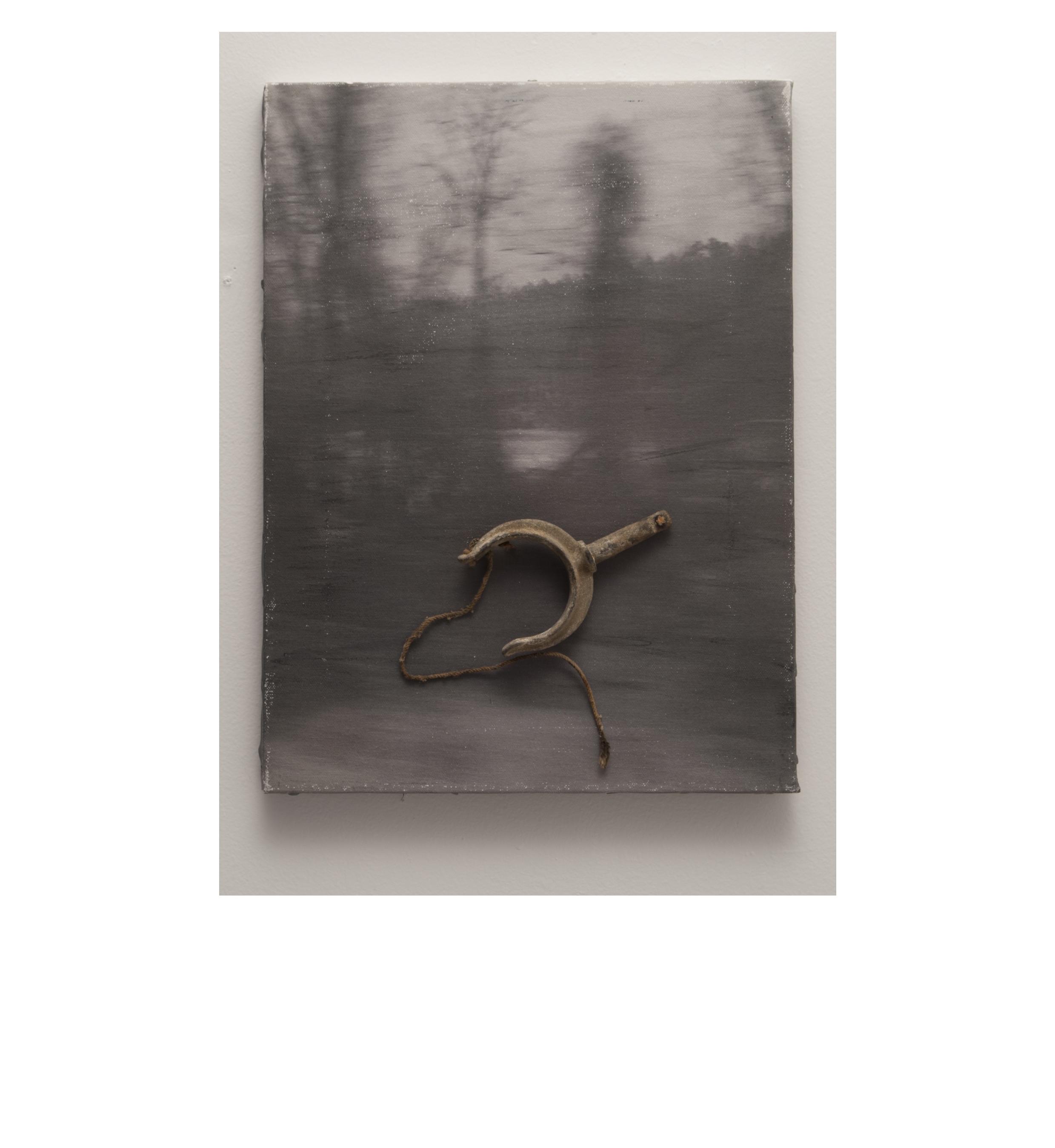 Alicia Mihai Gazcue - Eso-Bumerang (That Boomerang). 1983. Acuarela, carboncillo y objeto sobre lienzo. 31 x 40 cm. Único