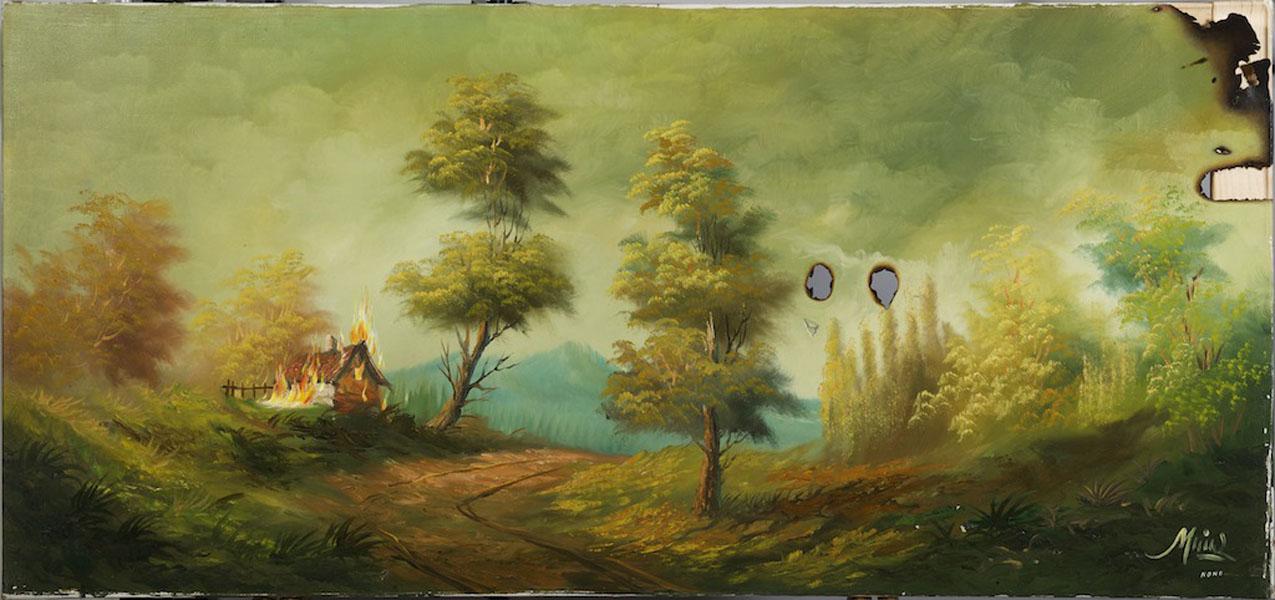 Nono Bandera .- La Casa Encendida. Óleo sobre lienzo, 65 x 130 cms, 2009
