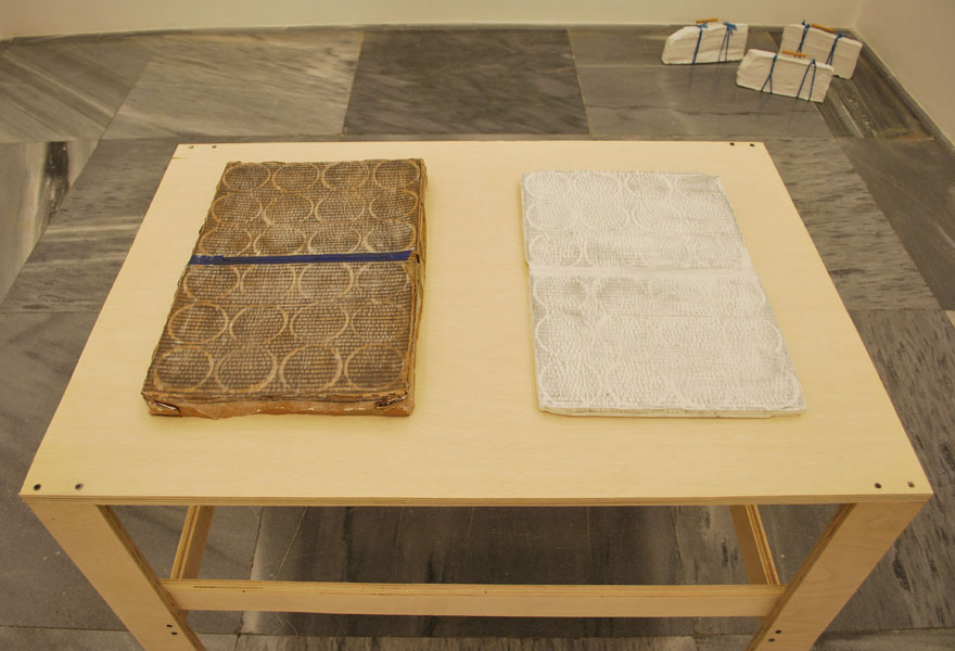 Olivier Babin .- You Name It. Plaster, graphite, cardboard and tape, variables, 2010