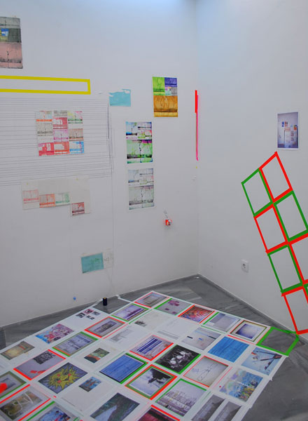 Franklin Evans .- 1964to2010. Watercolours, digital prints, strings and tape, variables, 2010